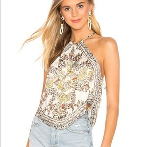 NEW Free People Sofia Printed Halter Top XS